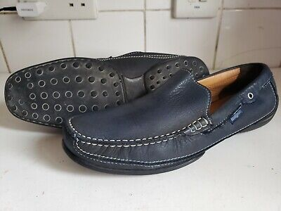Russell & Bromley Brown Blue Leather Moccasins Loafers Driving Casual Shoes 9 43