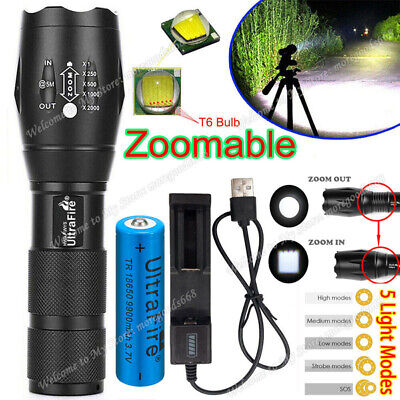 Ultrafire Focus Tactical Torch T6 LED 350000LM Flashlight &18650 Battery Charger