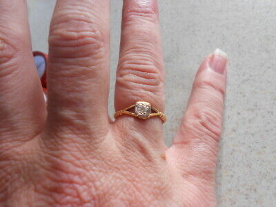 Diamond Ring, 18Ct Yellow Gold & Platinum Victorian Ring ,Very Special, Size K