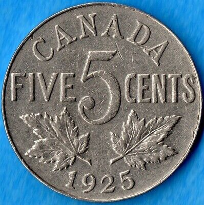 Canada 1925 5 Cents Five Cent Nickel Coin - Very Fine