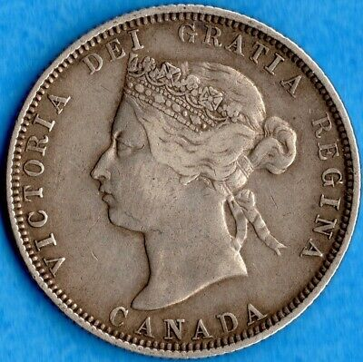 Canada 1881 H 25 Cents Twenty Five Cent Silver Coin - Very Fine