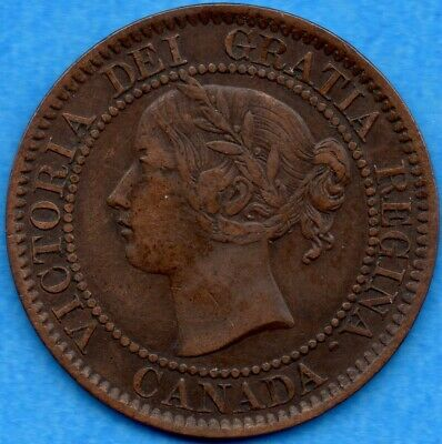 Canada 1859 Wide 9/8 1 Cent One Large Cent Coin - Very Fine