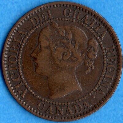 Canada 1859 Wide 9/8 1 Cent One Large Cent Coin - F/VF