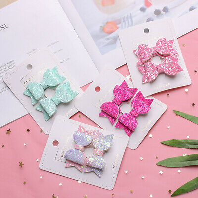 Baby Girls Glitter Kids Hair Clips Cute Hairpins Sequin Bow Bows Headwear