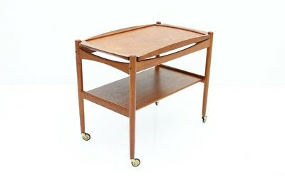 Poul Hundevad Teak Trolley in Teak Wood with Tray Denmark 60s bar Cart