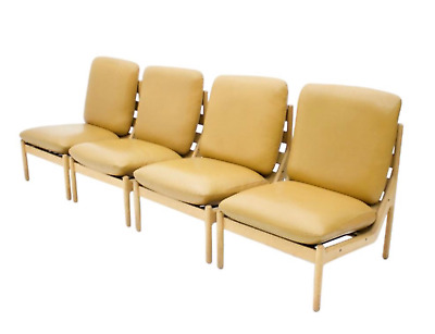 1v4 Slipper Lounge Chairs in oak and Leather CFC Silkeborg Denmark1968 60s