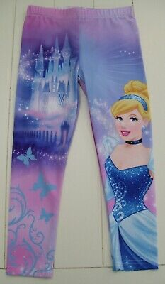 Girls Disney Princess Blue Purple Cinderella Stretch Leggings Sz 4 NWT