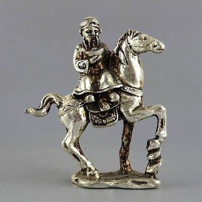 Collect Old Miao Silver Hand-Carved Immortal Riding Horse Delicate Decor Statue