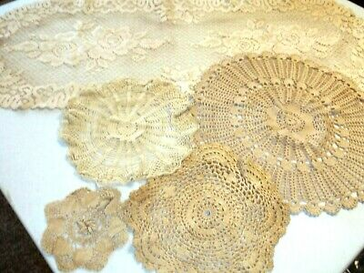 Vintage Lot of Tea Stained Doilies *Lot of 5*