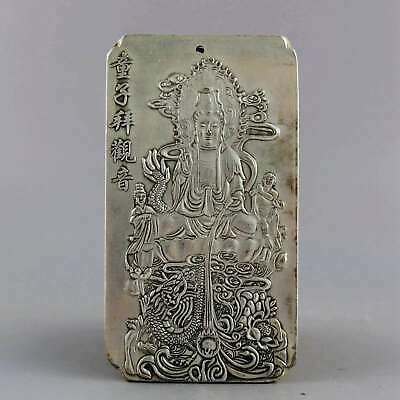 Collect Old Miao Silver Carved Myth Dragon & Guan Yin & Fairchild Lucky Pendant