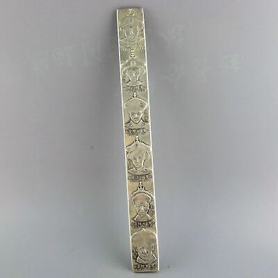 Collect Old Miao Silver Carve 6 China Ancient Emperor Statue Precious Paperweigh