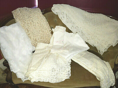 Ivory LINEN & LACE 17 pc LOT Tablecloth Doilies Runners Christmas Some Flaws VTG