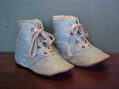 Antique Victorian Lace Up Robin's Egg Blue Leather Baby Shoes, Size 1