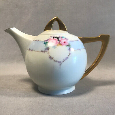 PV04176 Antique Hand Painted Favorite Bavaria Small Porcelain Teapot- PINK ROSES