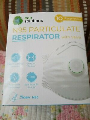 Eco Solutions N95 Particulate Respirator Mask Exhalation Valve 10 Masks