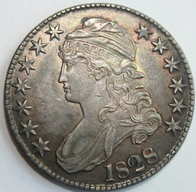 1828 Capped Bust Half Dollar, Choice AU toning, curl base no knob 2