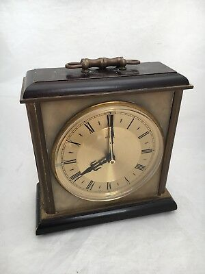 Working Vintage 1960s Metamec Quartz Mantle Clock Marble, Brass & Wood Silent