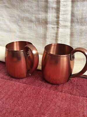 Vintage 2 piece set of West Bend Aluminum co. Solid Copper Coffee Mugs.