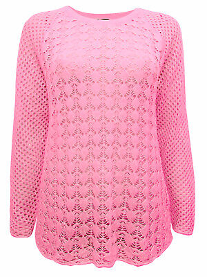 Cellbes Pretty CORAL Pink Open Knit (lace) Long Sleeve Jumper 38/40