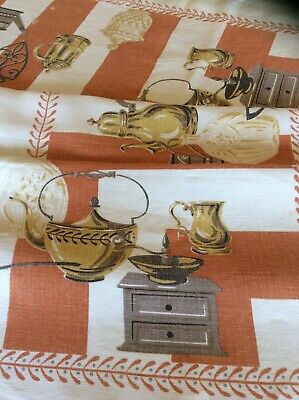 Vintage Mid Century Design Linen Tablecloth~CUTTER~Coffee Grinders~Trivets 47x52