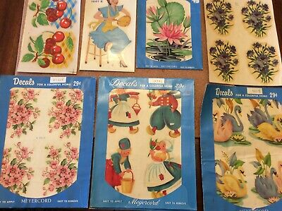 Vintage 1940-1950 Meyercord Decals 7 Sheets
