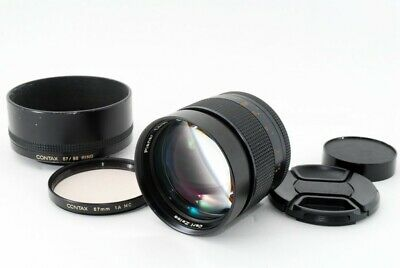 Contax Carl Zeiss Planar T* 85mm f/1.4 AEG MF Lens w/Hood Excellent+ From Japan