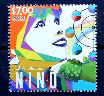 Mexico 2015 Children Day Kids Boy Girl Trees River Rainbow Wheel of Fortune MNH
