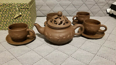 Chinese Yixing Zisha Clay Teapot Set With 4 Cups / Saucers