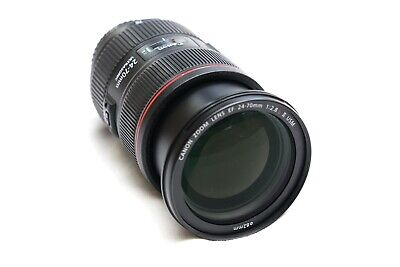 Canon EF 24-70mm f/2.8 L II USM Lens w/ end caps, unused Canon hood and soft bag