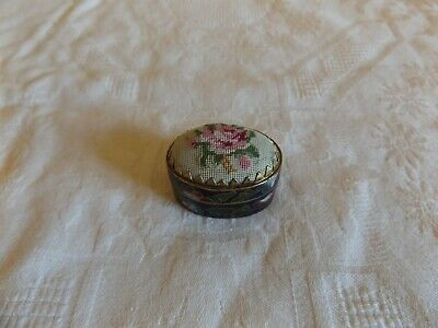 Vintage Chinese Enamel Opium Snuff Pill Trinket Box Embroidered Top Oval Shape