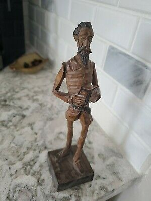 Vintage Ouro Artesania Spain Don Quixote Wooden Hand Carved Figurine 8""