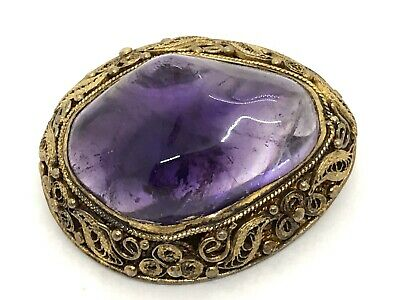 Antique Victorian Chinese Marked Silver Gilt Natural Amethyst Cabochon Brooch
