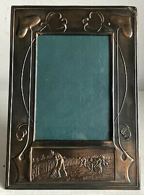 Antique Arts And Crafts Art Nouveau Copper Photo Frame + Harvest Farmers Scene