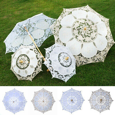 Vintage Lady Handmade Cotton Lace Parasol Umbrella Wedding Bridal Party Decor