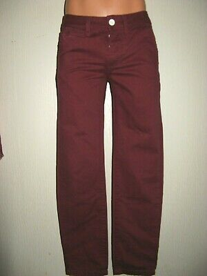 Worn Once Boys Burgundy Straight Leg Stonewash Chino Jeans Age 14-15-16 30 Waist