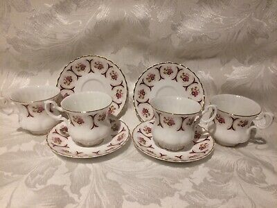 Set Of 4 English Fine China Tea Cups And Saucers Red Floral Gilt Edge