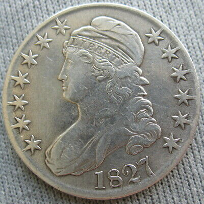 1827 Capped Bust Half Dollar 50 Cents (Cleaned)