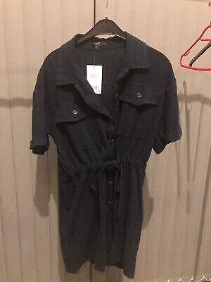 Next Navy Blue Button Front Playsuit 12 BNWT