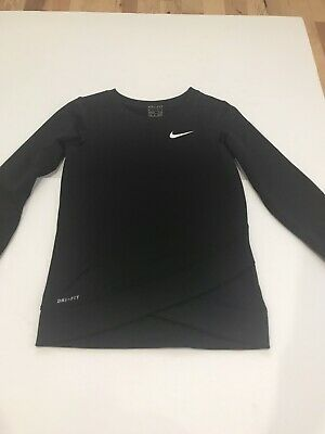 Nike Girls Long Sleeve Crew Neck Shirt Size 6x Black Dri Fit