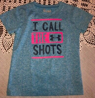 Under Armour Girls Size 5 Blue I Call The Shots Short Sleeve Shirt