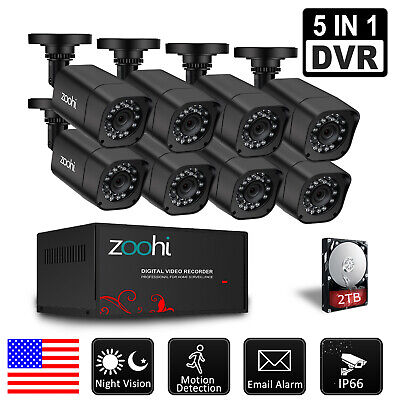 Zoohi 1080P HDMI HD-AHD 8CH/4CH 5 IN 1 DVR IP CCTV Security Camera System 1TB US