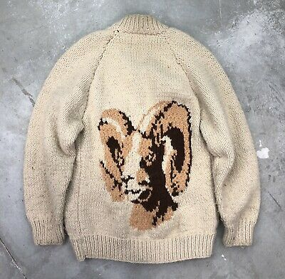 Vintage Cowichan Sweater XL 40s 50s Hand Knit Full Zip Wool Pattern Ram Talon