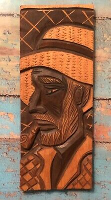 Vintage Smoking pipe wood carving African man in a Checkered Suit /hat handmade