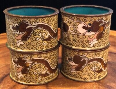 Set 4 Vintage Cloisonné Metal Enamel Painted Oriental Decorated Dragon Asian