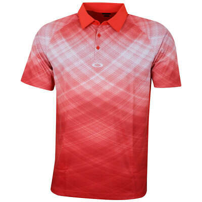 Oakley Mens Barkie Gradient Golf SS Polo Shirt - Fire Red - S