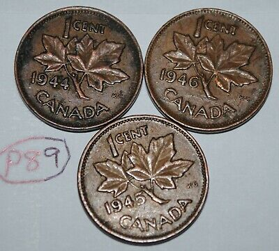 Canada 1944 1945 1946 1 Cent Copper One Canadian Penny 3 Coins Lot #P89