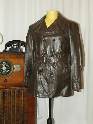 Awesome vintage 1930's 1940's belted leather coat, double breasted jacket.