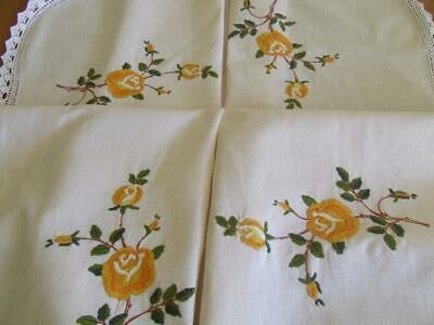 Beautiful Vintage Hand Embroidered Tablecloth Variegated Golden Roses -Lace Edge
