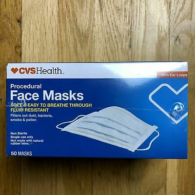 CVS Health Procedural Face Masks With Earloops Brand New In Box 50 Ct Anti Bact