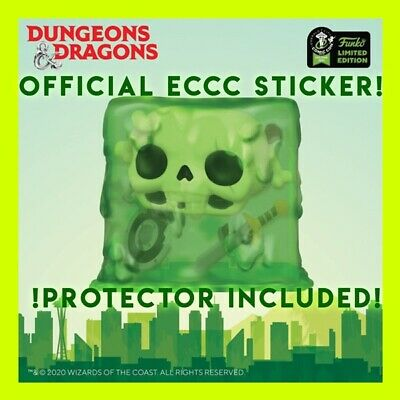 GELATINOUS CUBE DUNGEONS & DRAGONS FUNKO POP 2020 ECCC OFFICIAL STICKER + Case